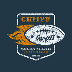 Rugby team badge with shabby texture