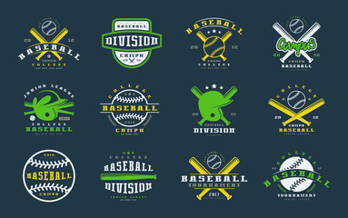Badges set of baseball team