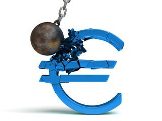 wrecking ball destroying a huge shiny blue Euro sign (3d illustration)