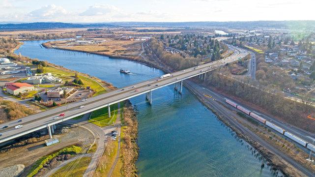 I5 Bridge over Snohomish River Everett Washington
