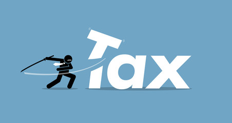 Tax cut. Vector artwork depicts reducing and lowering taxes.