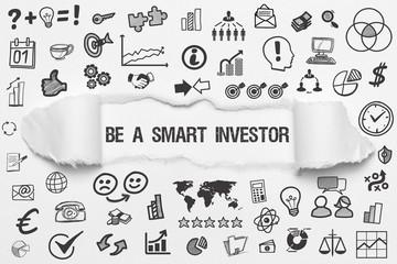 Be a smart Investor / weißes Papier mit Symbole