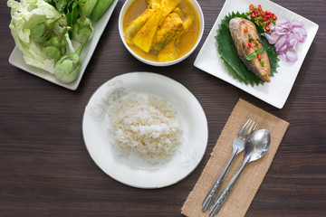 Yellow curry snapper fish with coconut shoots thai food thai food