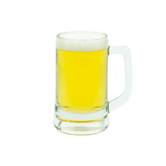 Mug with beer isolated on white background