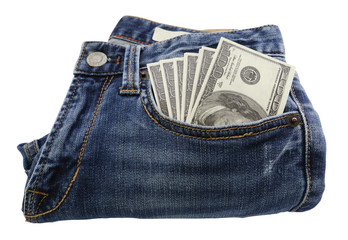 Dollar Currency in Jeans Pocket