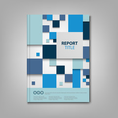 Brochures book or flyer with blue abstract squares template
