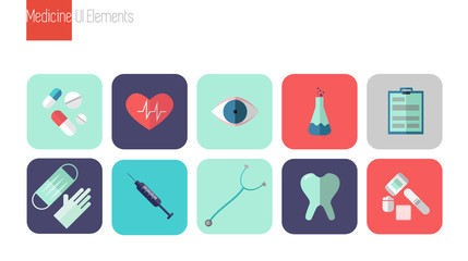 Flat icons set of medical tools and health care equipment,  science research and health treatment service. Pharmacy symbol sign vector illustration. Healthcare and medical icons