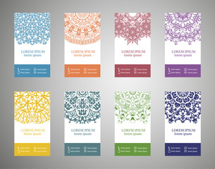 Colorful ornamental ethnic banner set. Templates with doodle tribal mandalas. Vector illustration.