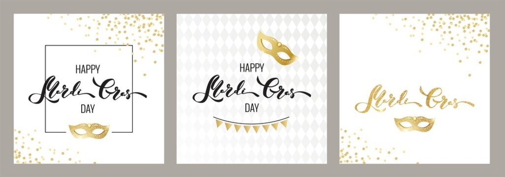 Mardi gras golden cards. Gold and black script and mask. Masquerade invitation design. Vector illustration