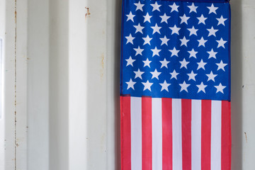 Flag of the United States with iron Wall