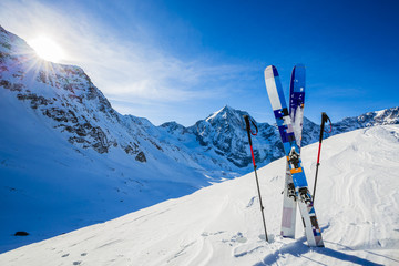 Wall Mural - Ski in winter season, mountains and ski touring backcountry equi