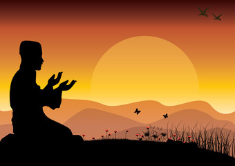 Concept of religion is Islam. Silhouette of man praying , and the mosque , Vector illustrations