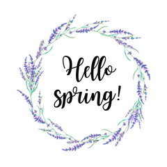 Hello spring label. Watercolor lavender wreath with lettering text. Hand drawn field flowers frame isolated on white background. Floral design
