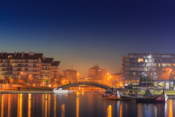 View from Aveiro city center town by night