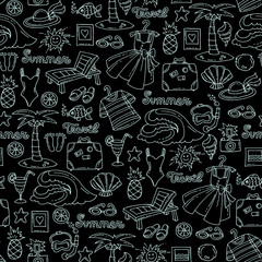 Pattern with hand drawn isolated symbols of recreation on black color. Pattern on the theme of summer, travel, tourism