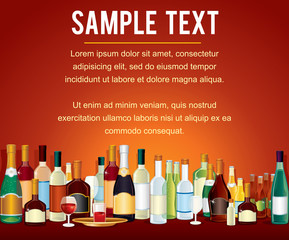Various Alcohol Bottles in a Bar Counter. Vector Drinks