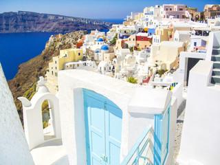 colorful village of oia at santorini island, greece