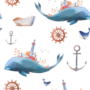 Watercolor creative whale seamless pattern. Hand painted fantasy texture with blue sea whale, lighthouse, anchor, plants, wheel, old boat, stones on white background. Vintage style nautical wallpaper