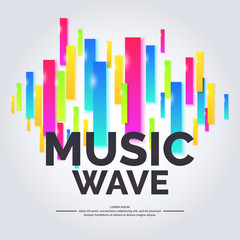 Music wave, geometric background.