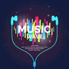 Music wave, geometric background.