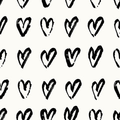 Fototapete - Hand Painted Hearts Pattern