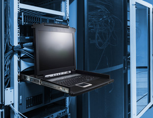 close up KVM switch in server room