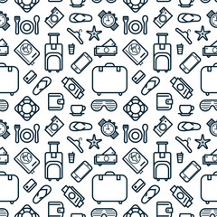 Seamless Pattern of Icons. Travel and Leisure Theme Background.