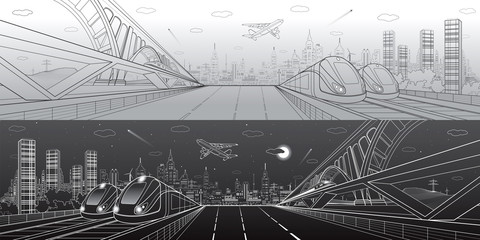Automobile highway, infrastructure and transportation panorama, airplane fly, train move on bridge, two locomotives in depot, day and night city, towers and skyscrapers, urban scene, vector design art