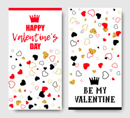 Happy Valentines Day vertical flyers with golden, red, black Hearts. Vector illustration for web or print design.