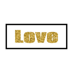 Vector illustration Valentine's Day greeting card gold design with typography
