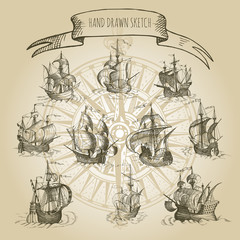 Old caravel, vintage sailboat. Hand drawn vector sketch.
