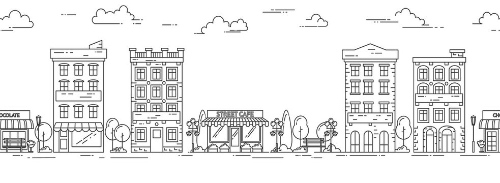 City landscape horizontal seamless pattern Line art