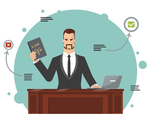 The lawyer tries to find the correct answer. Vector illustration