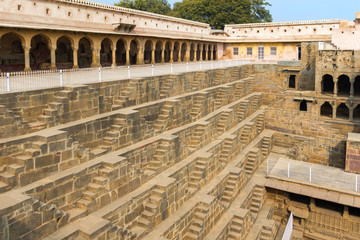 Poster de jardin Fortification Steps at Chand Baori