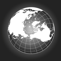 North Pole map in black and white. Vector map earthglobe worldmap