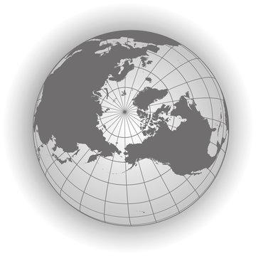 North Pole map in gray tones. Vector map earthglobe worldmap