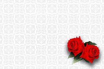 Two red roses on white pattern Background.