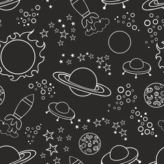Seamless black background with stars and spaceships