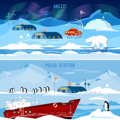 North Pole, polar station banners. Scientific station