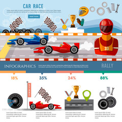 Car racing infographic, auto sport championship