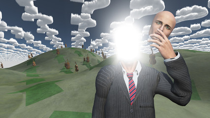 Man removes face showing lightn in landscape with question shape