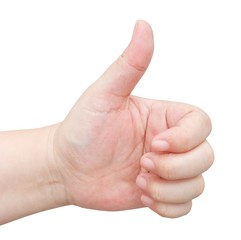 Hand Thump Up Sign on White Background