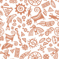 Cave painting tribal ethnic symbols - seamless pattern