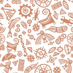 Cave painting tribal ethnic symbols - seamless pattern
