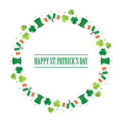 Happy St.Patrick's Day flat design round frame isolated on white background.