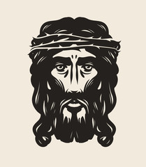 Jesus Christ face. God, religion symbol. Art vector illustration