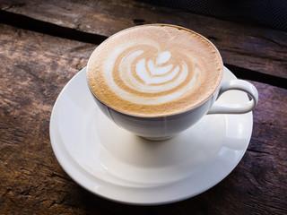 latte coffee on wood