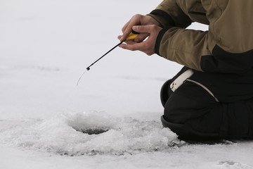 Fishing in the winter on the lake