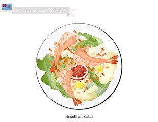 Breadfruit Salad with Shimp, Popular Food in Micronesia