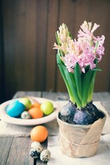 Pink hyacinth, easter colorful and quail eggs in wooden pot on dark wooden table. Toned photo.